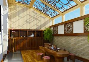 中式风格古典精致封闭式阳台装修效果图赏析