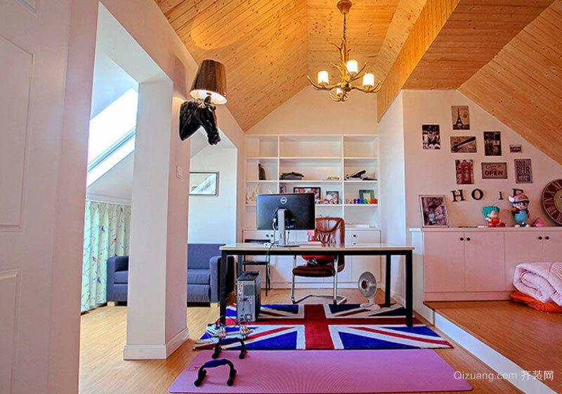 美式风格精致阁楼书房设计装修效果图