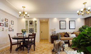 122平米美式风格精致三室两厅室内装修效果图赏析