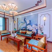 中式风格古典精致客厅背景墙装修效果图