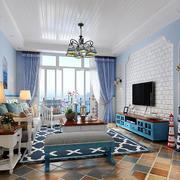 地中海风格简约客厅电视背景墙装修效果图赏析