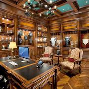 美式风格别墅室内书房设计装修效果图赏析