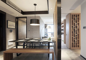 现代风格精致冷色调餐厅隔断设计装修效果图
