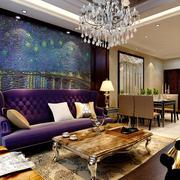新古典主义风格大户型客厅背景墙装修效果图