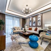 新中式风格大户型精致客厅背景墙装修效果图