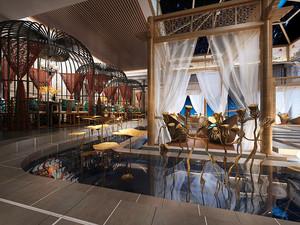 100平米中式风格中餐厅装修效果图