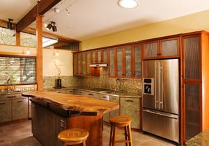 乡村风格精致开放式厨房吧台装修效果图赏析