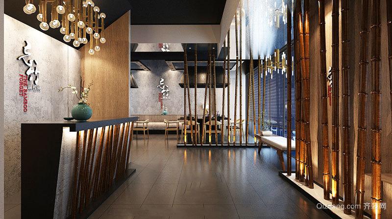 中式风格创意餐厅前台设计装修效果图