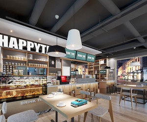 60平米简约风格时尚咖啡厅装修效果图