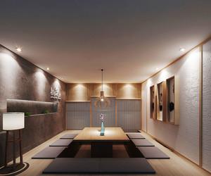 日式风格简约餐厅包厢设计装修效果图
