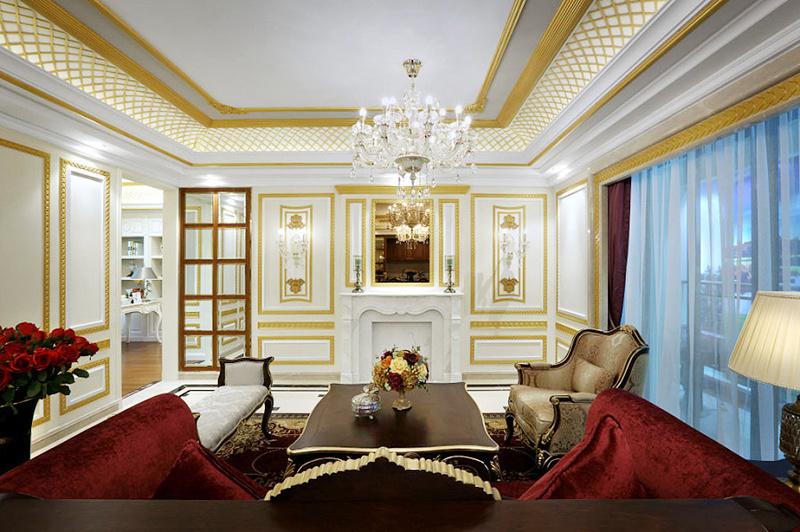 160平米欧式宫廷风大户型室内装修效果图