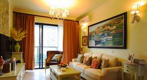 89平米田园风格温馨两室两厅室内装修效果图