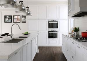 现代简约风格白色厨房吧台装修效果图赏析