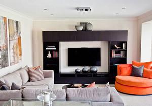 现代风格时尚客厅电视背景墙装修效果图