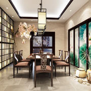 中式风格精致餐厅背景墙装修效果图