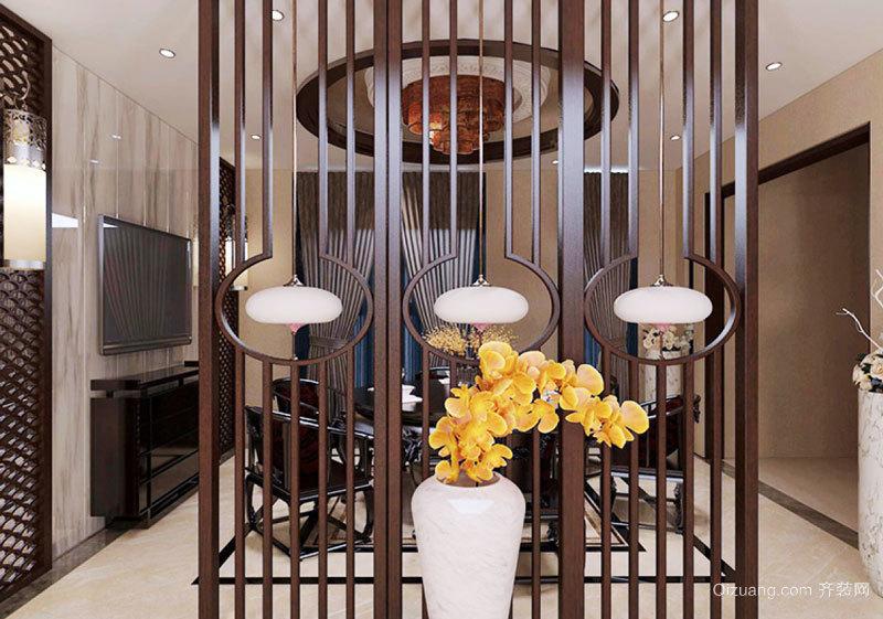 中式风格精致古朴餐厅隔断设计装修效果图