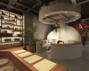 现代风格时尚创意餐厅吧台装修效果图