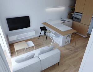 59平米简约风格白色精致单身公寓装修效果图