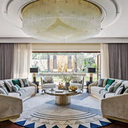 欧式风格低调奢华精致客厅吊顶设计装修效果图