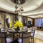 新中式风格奢华精致餐厅吊顶装修效果图