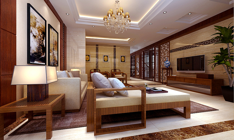 160平米中式风格精致复式楼室内装修效果图