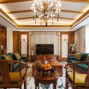 中式风格大户型精致古典客厅吊顶装修效果图
