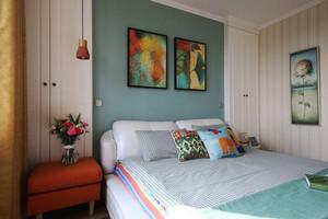 北欧风格清新简约卧室背景墙装修效果图