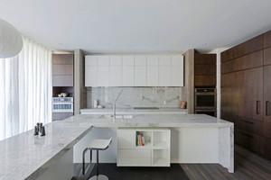 现代风格白色开放式厨房餐厅装修效果图