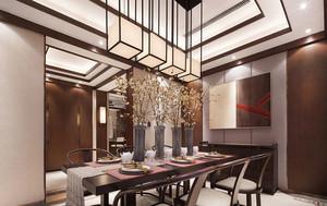中式风格大户型精美餐厅吊灯装修效果图