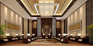 中式风格精致酒店会客厅设计装修效果图