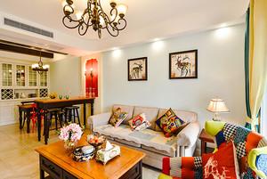 88平民混搭风格时尚多彩两室两厅室内装修效果图