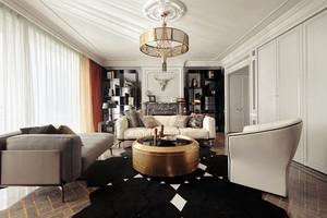 简欧风格时尚淡雅大户型室内装修效果图案例