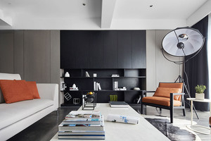 100平米现代简约风格黑色系室内装修效果图案例