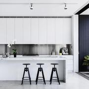 现代简约风格白色开放式厨房吧台装修效果图