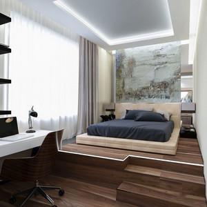 现代风格简约创意卧室背景墙装修效果图