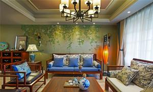 128平米中式風格恬靜淡雅三室兩廳室內裝修效果圖