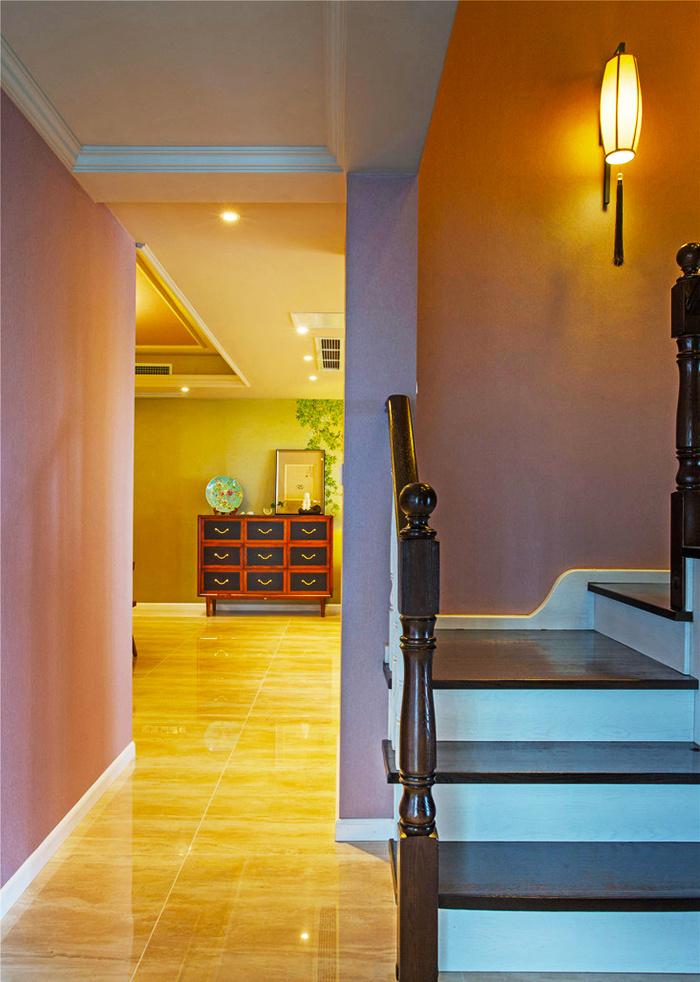 128平米中式风格恬静淡雅三室两厅室内装修效果图