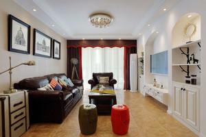 119平米美式风格精装三室两厅室内装修效果图案例