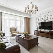 美式风格精致客厅电视背景墙装修效果图