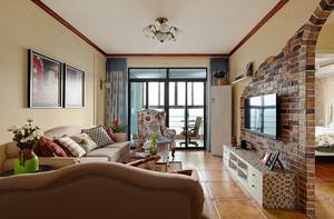 106平米美式田园风格精致两室两厅室内装修效果图