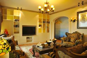 124平米美式乡村风格质朴三室两厅室内装修效果图