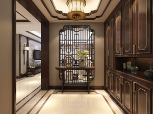 中式风格古典雅致进门玄关隔断设计装修效果图
