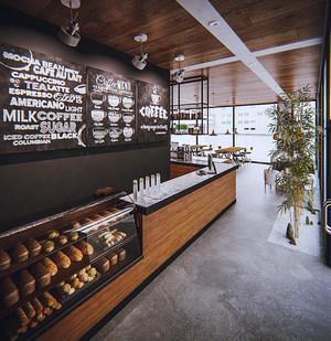 后现代风格时尚面包店装修效果图
