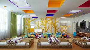 简约风格时尚幼儿园教室吊顶装修效果图
