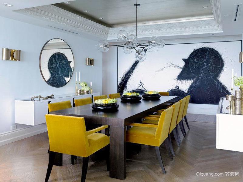 后现代风格大户型精致餐厅背景墙装修效果图
