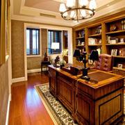 美式风格别墅室内古典书房设计装修效果图