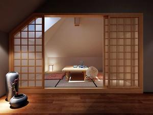 日式风格简约餐厅包厢设计效果图