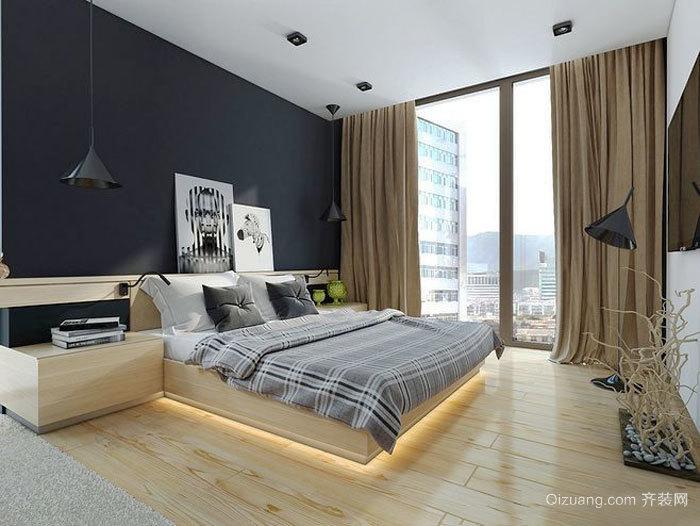 后现代风格时尚卧室背景墙装修效果图赏析