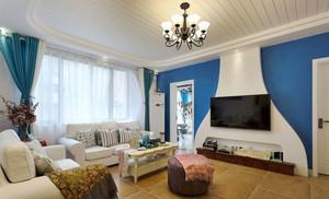 地中海风格大户型精致客厅电视背景墙装修效果图