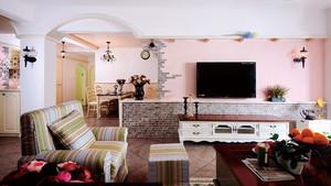 106平米美式田园风格精美三室两厅室内装修效果图